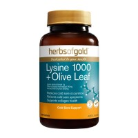 Herbs of Gold Lysine 1000 Plus Olive Leaf - 100 Tablets