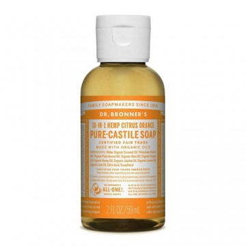 Dr Bronner's Pure Castile Liquid Soap - Citrus Orange - 59 mls